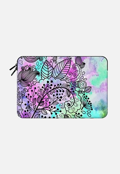 Artsy girly pink teal bohemian black floral pattern Macbook Pro 13 sleeve by Pink Water | Casetify