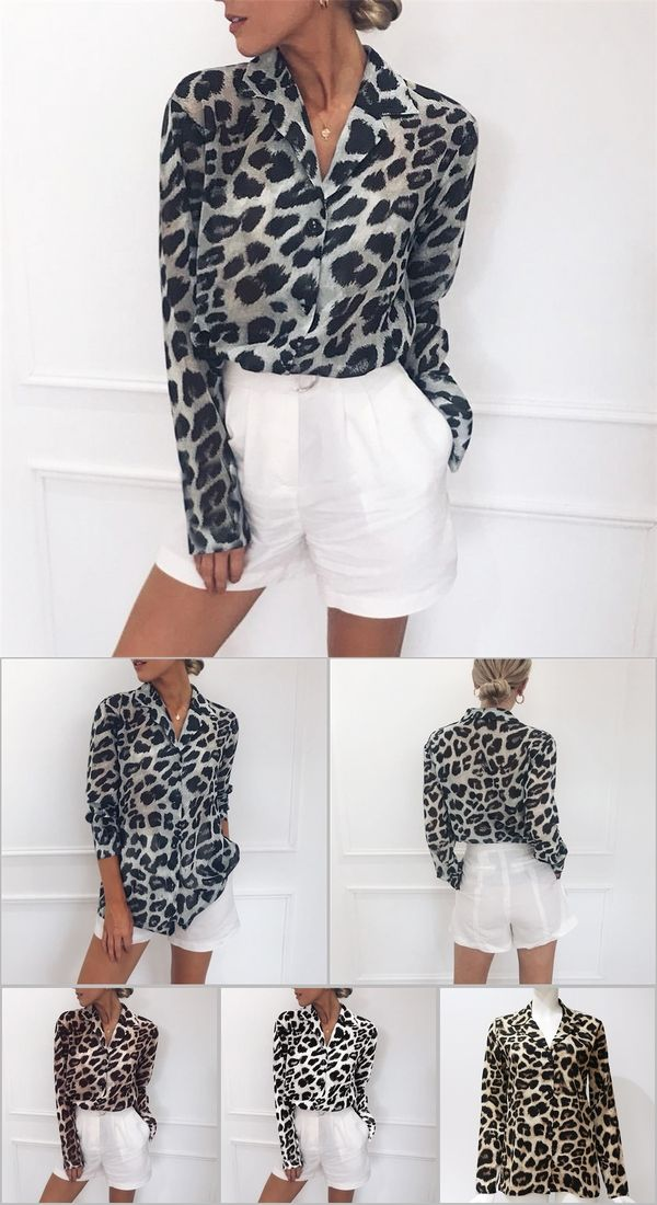 Women's Clothing Chiffon Blouse Long Sleeve Sexy Leopard Print Blouse Turn Down Collar Lady Office Shirt Tunic Casual Loose Tops Plus Size