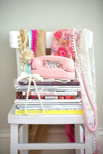 : Vintage Phones, Chairs, Book, Little Girls Rooms, Bedside Tables, Pink Phones, Retro Style, Pink Princesses, Telephone