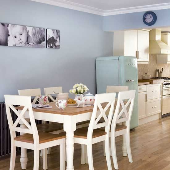 kitchen colour white blue wall  table wood and white