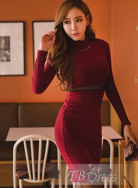 Pretty Fashionable Euramerican Long Sleeves Stand Collar Bodycon Dress