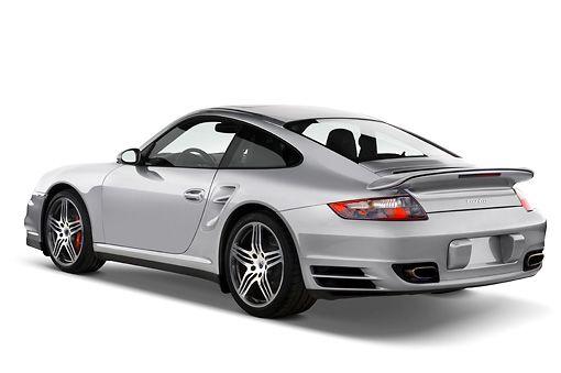 AUT 43 IZ0045 01 © Kimball Stock 2008 Porsche 911 Turbo Silver 3/4 Rear View Studio