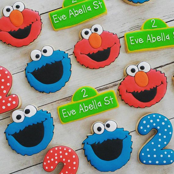 Custom orders are welcome! This listing is for 12 Sesame Street theme sugar cookies. 3 Elmo 3 Cookie Monster 3 st signs 3 #s PACKAGING CHOICES Bags with coordinating bows...perfect for party favors SHRINK WRAPPED...These look great on a platter and dont need to be removed before
