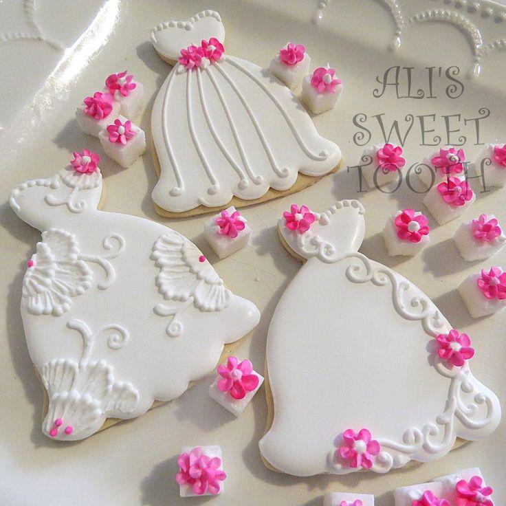 Wedding Dresses Decorated Cookies via #TheCookieCutterCompany
