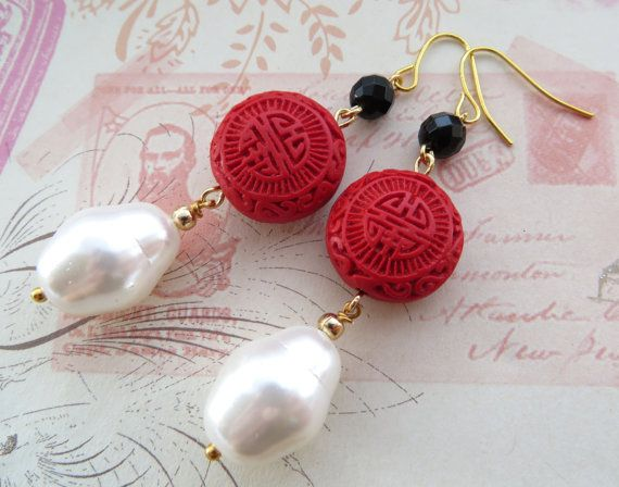 Red cinnabar earrings baroque pearl earrings uk by Sofiasbijoux