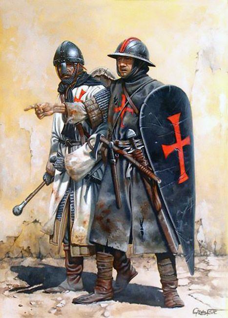 Caballero y sargento templarios en Tierra Santa a mediados del siglo XII, cortesía de Zvonimir Grbasic para Desperta Ferro. Más en www.elgrancapitan.org/foro