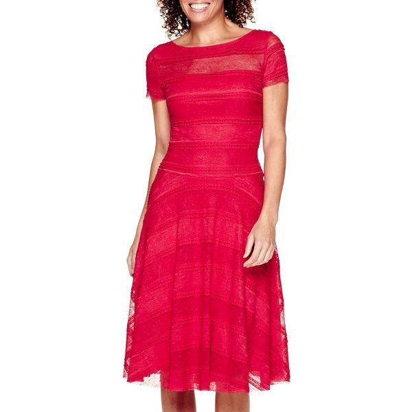 Signature By Sangria Short Sleeve Lace Fit And Flare Dress