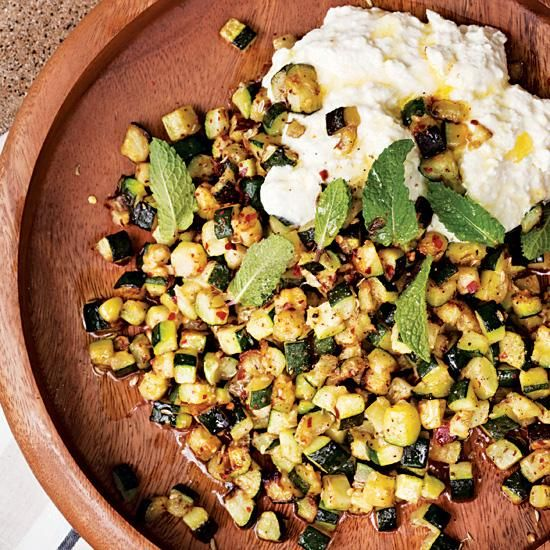 Roasted Zucchini with Ricotta and Mint | Flavored with fennel and cumin seeds, this quick side dish (or vegetarian main course) has a fun Indian flavor. While chef Sheamus Feeley likes to add pequin peppers, any chile flakes work well.