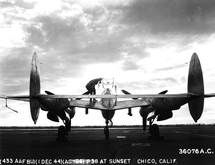 1st December 1944 - P-38 Lightning aircraft at rest on an airstrip in Chico California United States