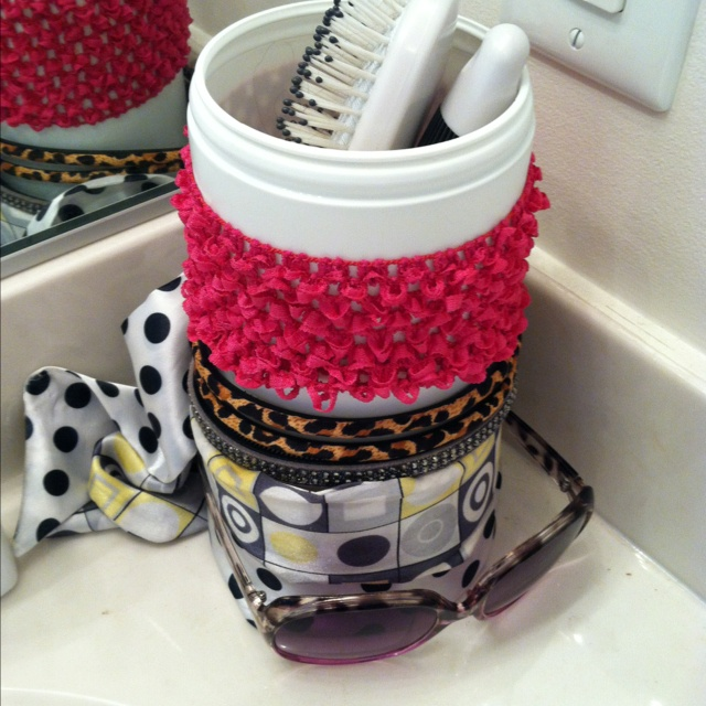 Recycling a Clorox wipes container to use to showcase headbands and hold my brushes