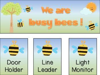 Classroom jobs chart in a cute bee theme