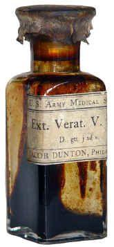 A rare Civil War medical bottle with label reading:  U.S. Army Medical Supplies / Ext. Verat. V. Fld.; / D. gtt. j ad v. / JACOB DUNTON, Philadelphia.  Dunton is a well-known medical supplier during the Civil War.  4.5 inches high.Civil Wars, Medical Bottle, Wars Medical, Jacobs Dunton, Medical Supplies, Rare Civil, Labels Reading, Vintage Bottle Glasses, Army Medical