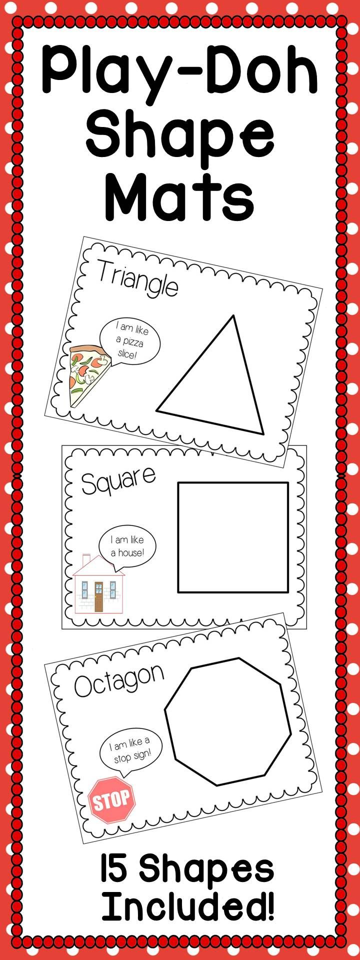 Shape Play-Doh Mats. Includes 15 different unique shapes- not just the basics! Students use play-doh to trace the lines of the shapes. Perfect math center in your kindergarten classroom!