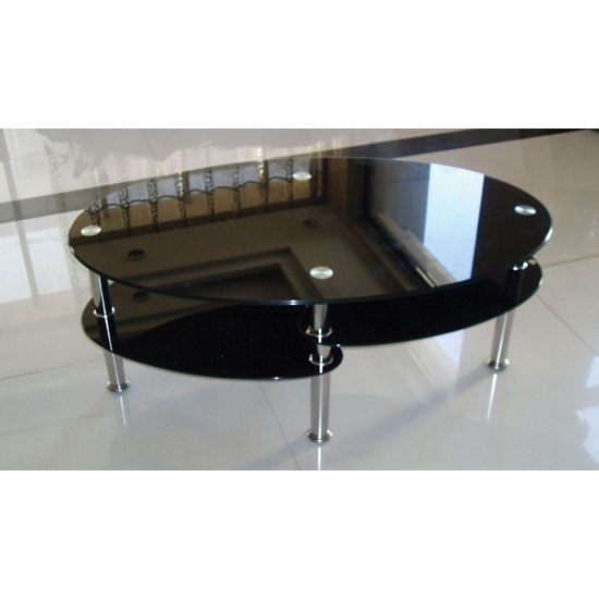 Camilla Oval Shape Black Glass Coffee Table With Undershelves