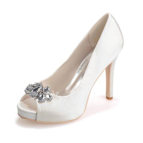 Wedding Shoes - $58.40 - Women's Satin Stiletto Heel Peep Toe Platform Sandals With Rhinestone (0475099557)