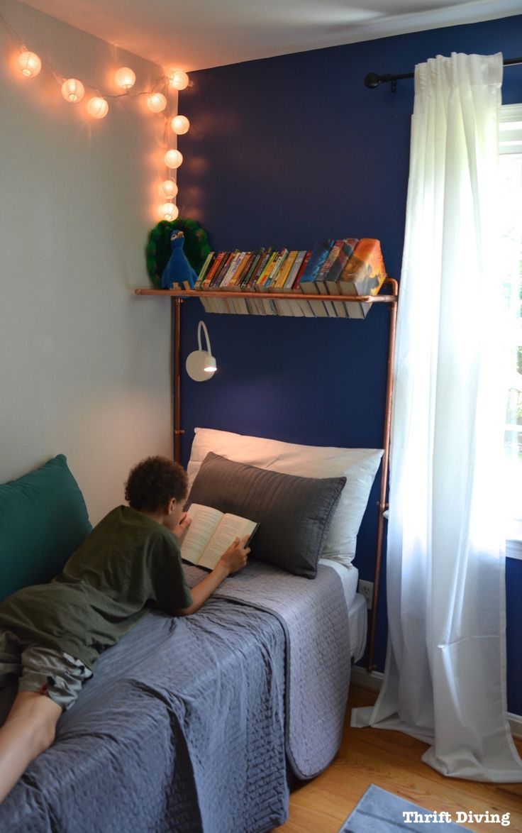 BEFORE  AFTER Boys Blue Accent Wall Bedroom Makeover