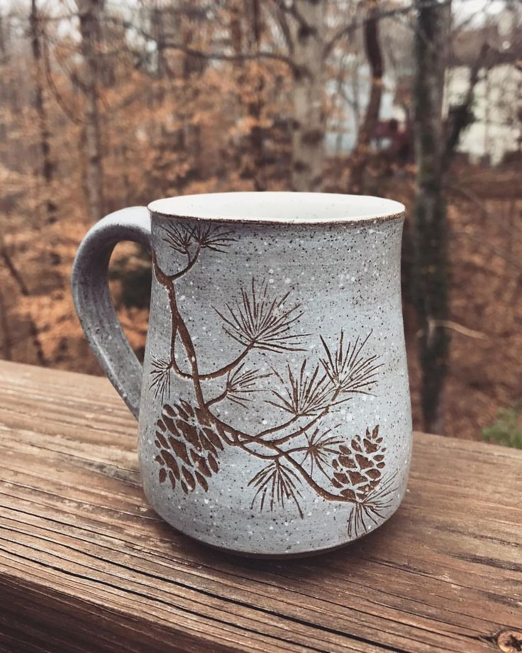 The first pine branch mugs are out of the kiln!……