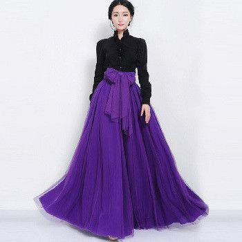 2017 New Long Maxi Skirts Spring Summer High Waist Bowknot Solid Color Mesh Ball Gown Pleated Tulle Skirt Women