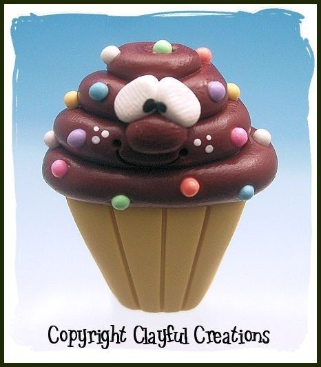 Becky's Polymer Clay  Chocolate Cupcake MAGNET от clayfulcreations