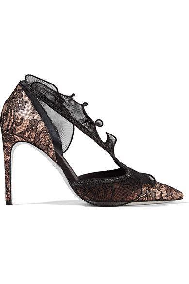René Caovilla - Embellished Lace, Satin And Plissé Organza Pumps - Black