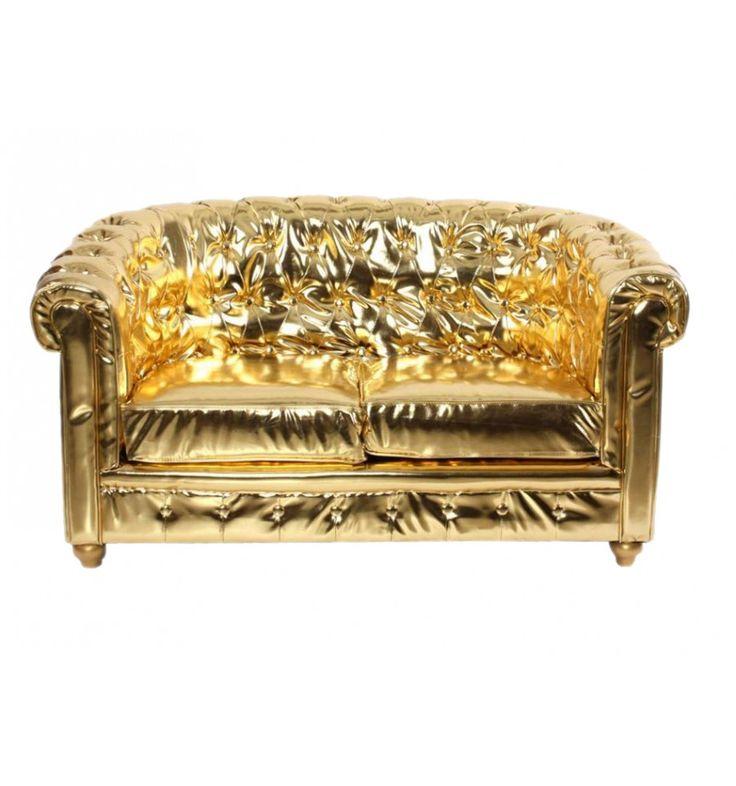 Sillón sofá dorado Abu Dabi 2 plazas