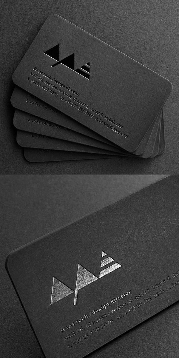 Black on Black Printed Letterpress Business Card Design