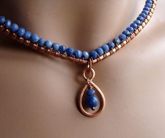 Cobre BELLEZA SIMPLE y bígaro collar azul por sparkflight