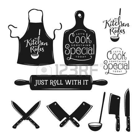 oldtimers: Keuken gerelateerde typografie set. Quotes over koken. Mijn keuken, mijn regels. Gewoon rollen mee. Laten we iets bijzonders te koken. Vintage vector illustratie.