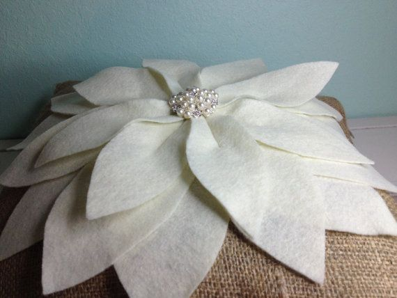 Decorative Ivory Poinsettia Pillow by 2CuteCrafts4U on Etsy