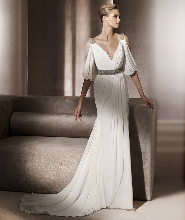 Glamorous Empire V-neck Floor-Length  Half-sleeve Wedding Dresses 2014 Spring Trends