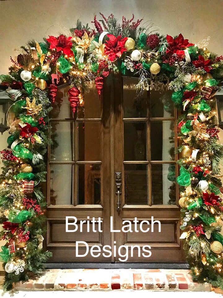 Traditional Christmas Door Garland Christmas Door Christmas Traditions Christmas Wreaths