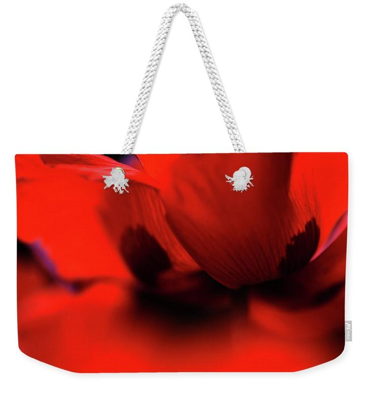 "Flaming Red Poppy Weekender Tote Bag (24"" x 16"") by Jenny Rainbow.  The tote bag is machine washable and includes cotton rope handle for easy carrying on your shoulder.  All totes are available for worldwide shipping and include a money-back guarantee."