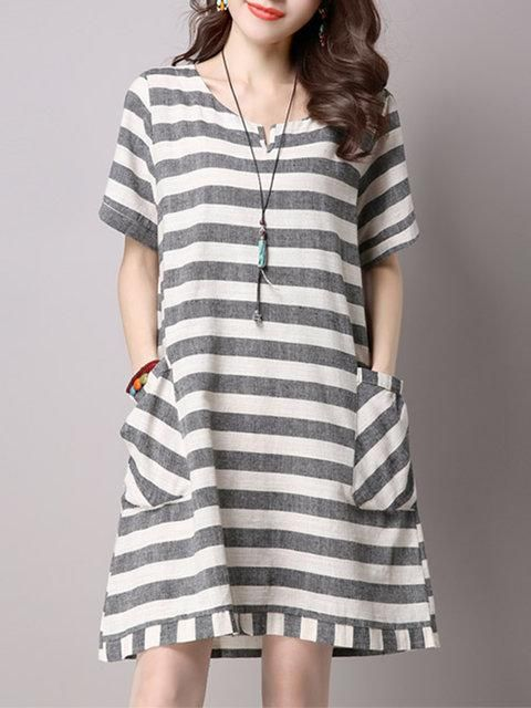 0e4d156f31 Women Gray Daytime Short Sleeve Casual Linen Printed Striped Dress   ebuytide  dressescasual  dresses