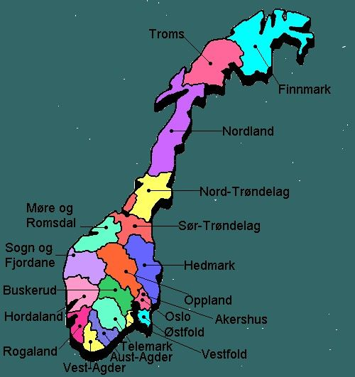 Norway Map! Grandpa's family came from Buskarud and Grandma from Lillehammer, Oppland.