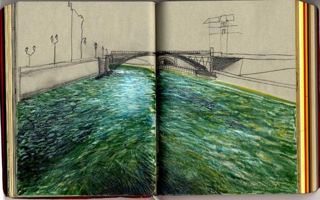 Magda Boreysza sketchbook drawing a river