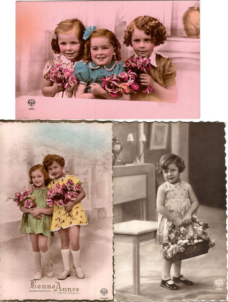3 старые реальные фото открытка. маленькие девочки. смотрите фотографии. очень хорошая. | eBay