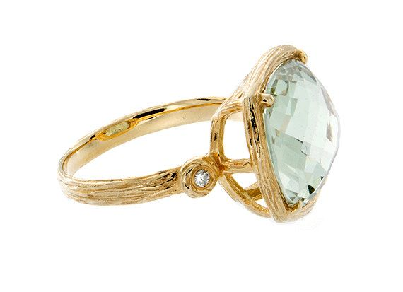 Green Amethyst and Diamond Statement Ring, Green Amethyst Engagement Ring, Engagement Rings for Her