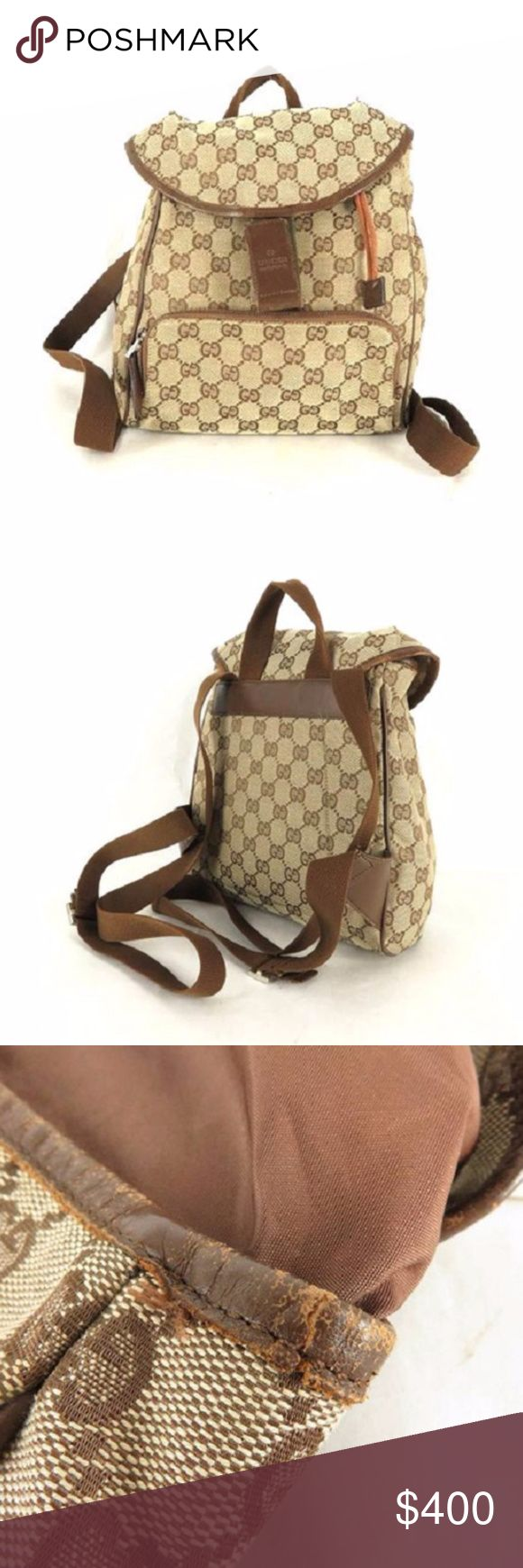 "Authentic Gucci GG Monogram Brown Backpack Authentic Gucci GG Monogram Brown canvas And Leather mini backpack   Measures:  L:9"" W:4"" H:10""           Condition: 7/10 some signs of use.. see pics. . Gucci Bags Backpacks"