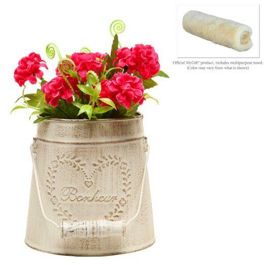 Titular de la vendimia del estilo francés del país MyGift metal rústica decoración del jardín / cubo de la pieza central del florero / de la flor:: Amazon.com Hogar y Cocina