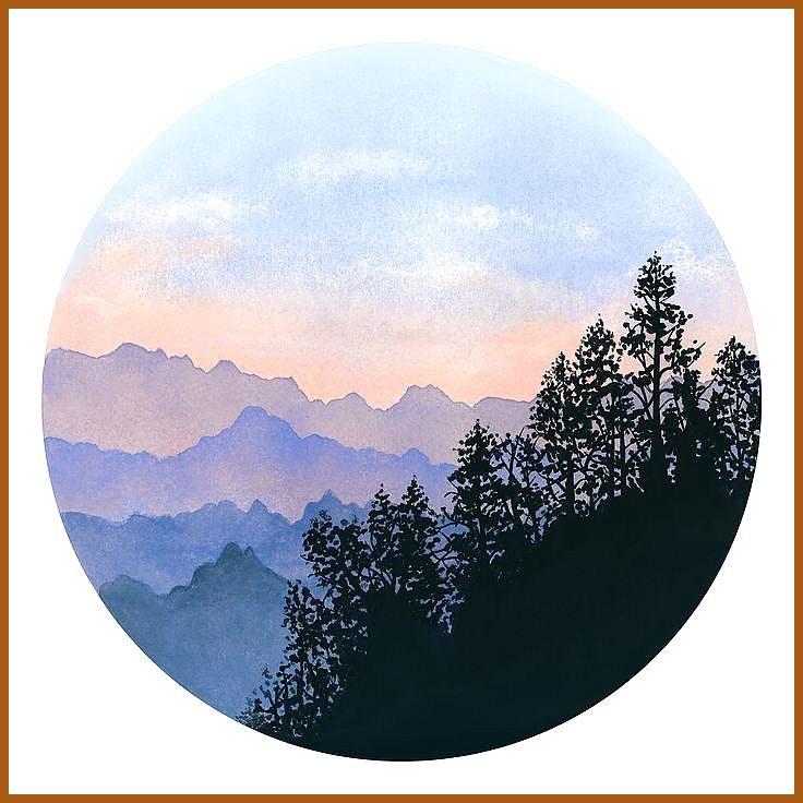 Aquarell Druckbare Kunst Landschaft Modern Drucken Misty Mountains
