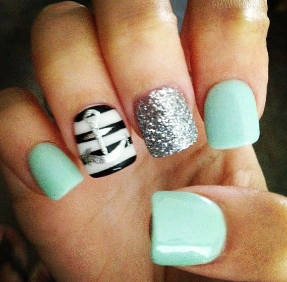 Cute Manicure Design Idea S: Cute Nails With Sparkles!!! And An Anchor, And Stripes. It