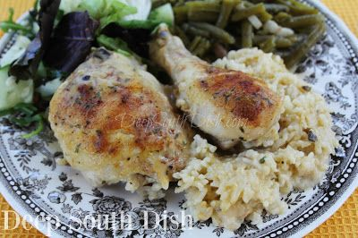 Old School Baked Chicken and Rice - Bone-in, skin-on, chicken thighs and legs, or a whole chicken, cut up, seasoned and baked with cream soup and rice for a flavorful, tender baked chicken.