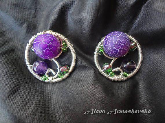 925 Sterling silver earrings fancy jewelry Crackle agate