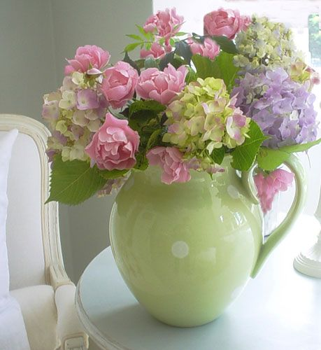 Hydrangeas and peonies in a country green pitcher!
