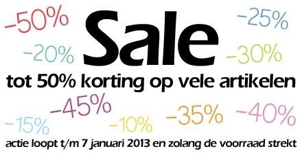 Sale - nu tot 50% korting op vele artikelen!