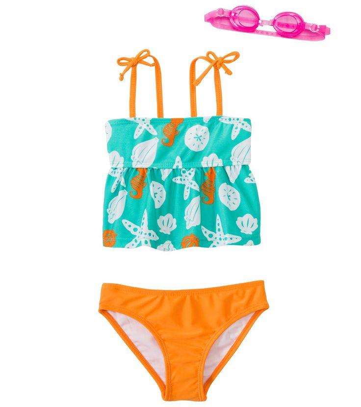 Jump N Splash Girls' Sassy Seashell Two-Piece Swimsuit w/ Free Goggles (4-6X)