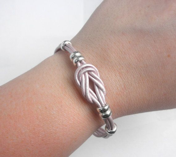 handmade square knot leather bracelets | Metallic Leather Love Knot Bracelet, Infinity Knot Bracelet