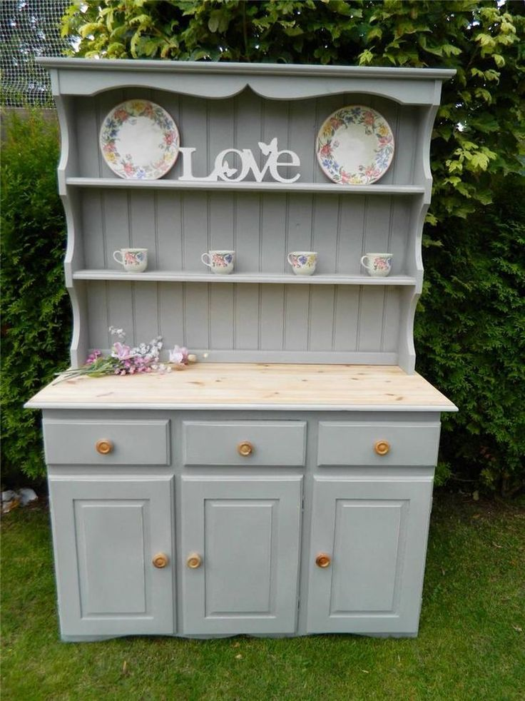 SHABBY PINE WELSH DRESSER SPICE DRAWERS STORAGE DISPLAY CABINET PAINTED