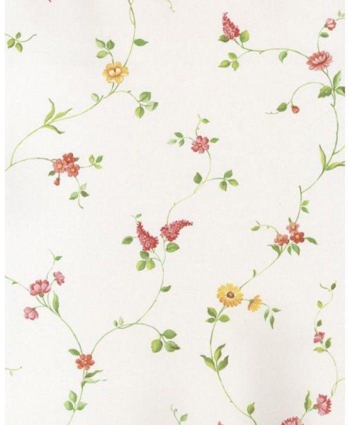 Carta da parati floreale shabby chic country stampa con fiorellini colorati rosa