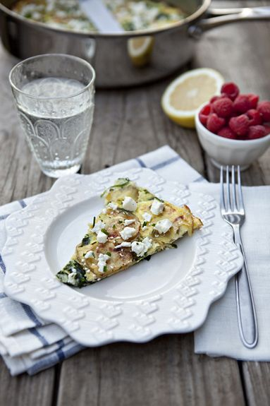 Roasted Potato And Spinach Frittata With Feta Recipe — Dishmaps